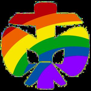 DPSG-Lilie in Regenbogenfarben